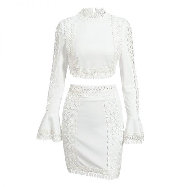 Glamaker Lace White Bodycon Mini Dress Women Two Piece Suit Flare Sleeve Winter Dress Autumn Short Sexy Party Club Elegant Dress