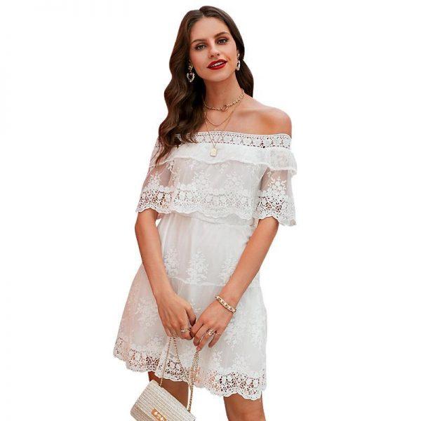 White Off Shoulder Bohemian Dress