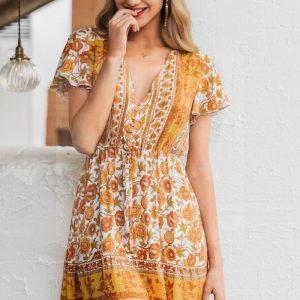 Dress boheme mustard yellow