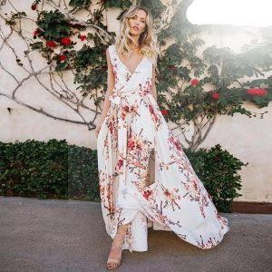 White bohemian summer maxi dress