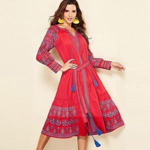 Bohemian chic red maxi dress