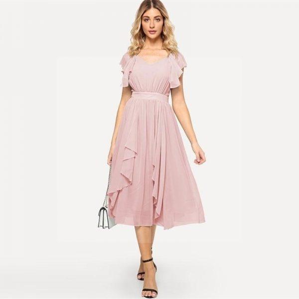 Bohemian chic pink maxi dress