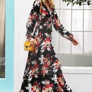 Bohemian chic black maxi dress