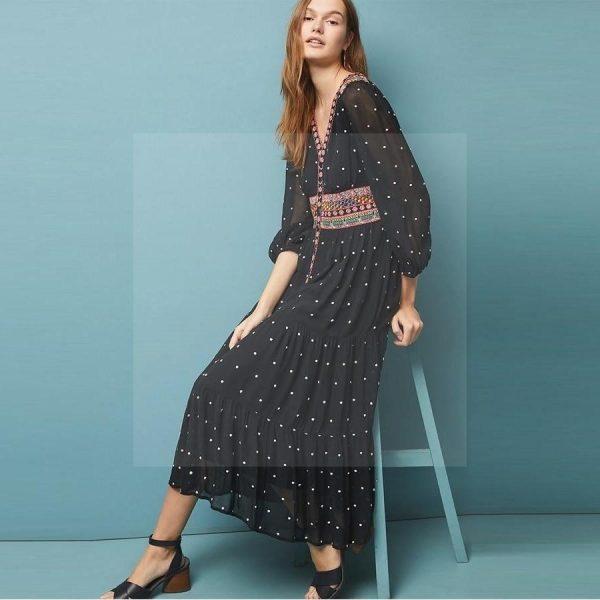 Bohemian chic long dress in black